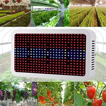 Derlight® 400W Hohe Energie Das ganze Spektrum LED Pflanzenlampe für Gewächshaus Pflanze Bluete White Shell IR UV Licht für Zimmerpflanzen Blumen und Gemüse (400W) - 1