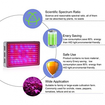 Roleadro ® 600W Led Grow Lamp für Gewächshaus Pflanze vollspektrum IR UV Licht für Zimmerpflanzen Growbox Blumen und Gemüse - 8