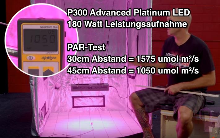 Platinum LED P300 PAR Testergebnis