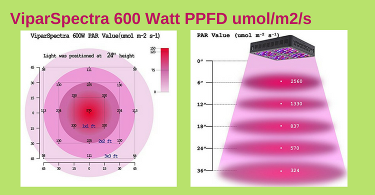 ViparSpectra 600w PAR, PPFD, umol